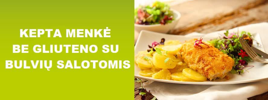 Kepta menkė be gliuteno su bulvių salotomis